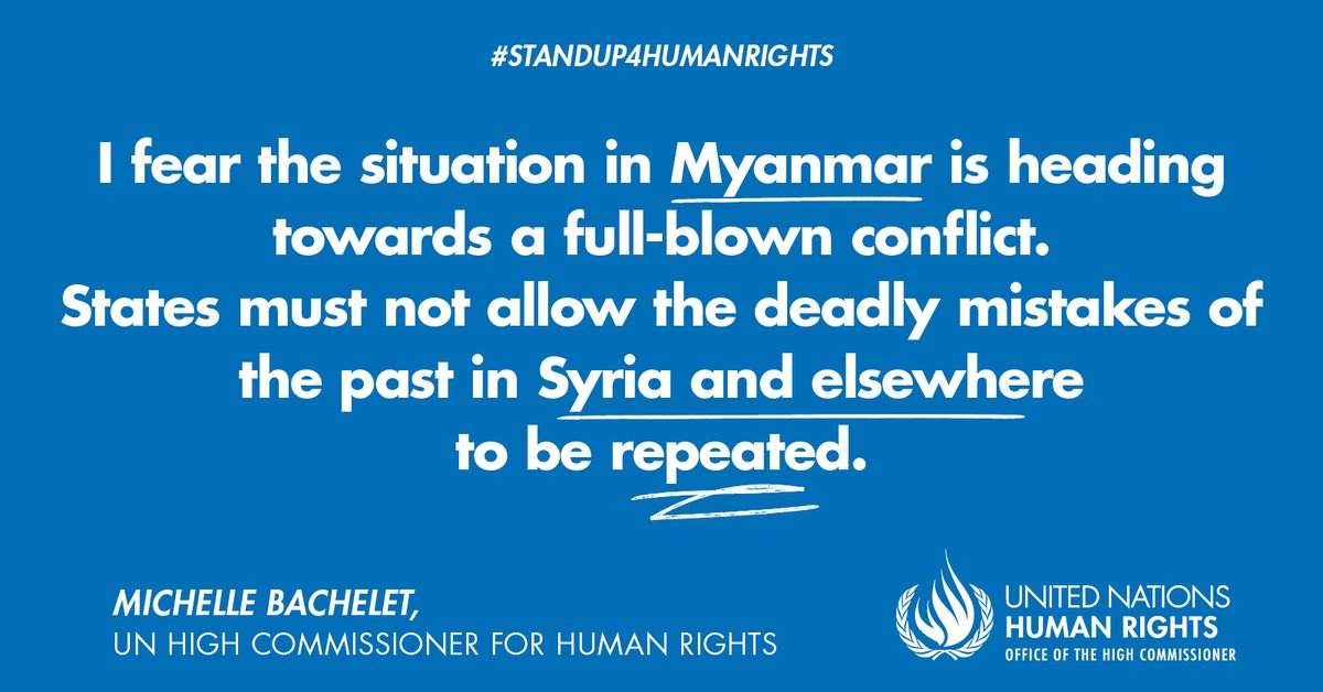 🇲🇲 #Myanmar: UN Human Rights Chief @mbachelet urges States to take immediate, decisive and impactful measures to push military leadership into halting its campaign of repression and slaughter of its people.  Read 👉 https://t.co/Y57YtqePLx  #StandUp4HumanRights https://t.co/XEzG0C4Ekt