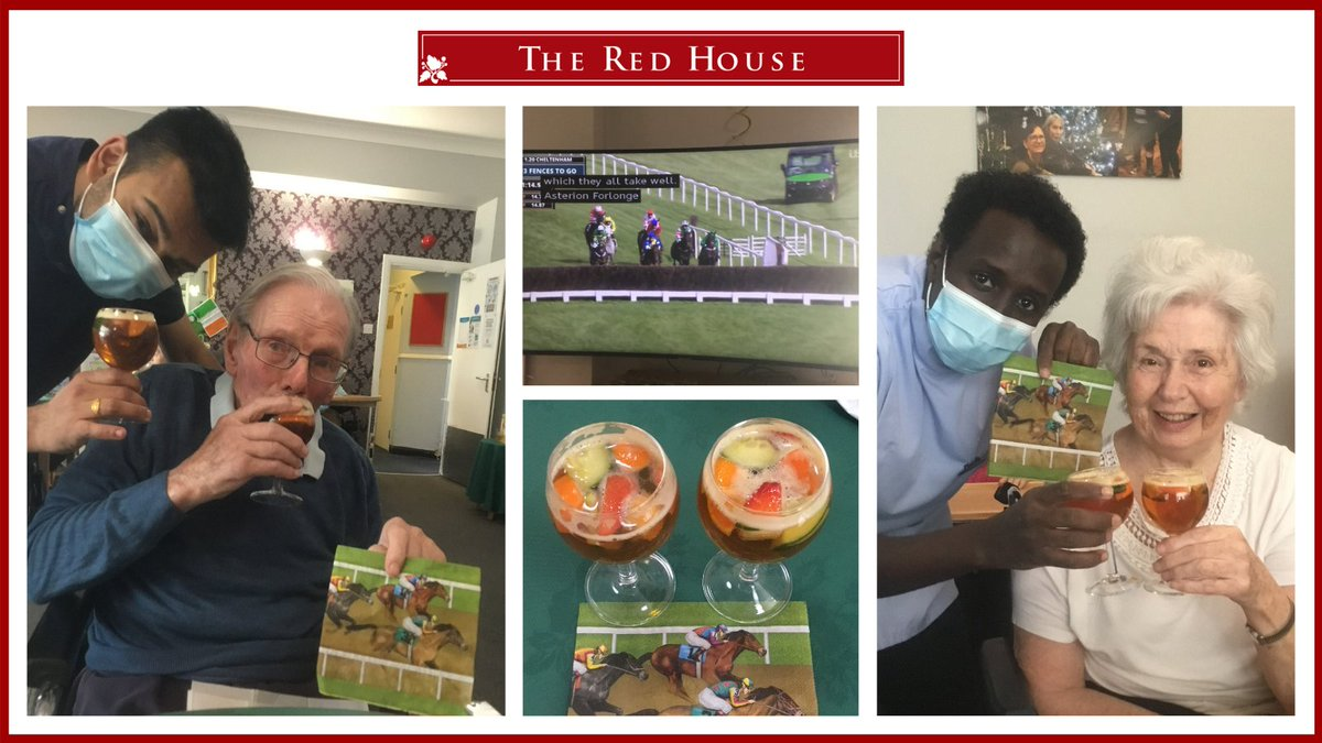 The #cheltenhamfestival is celebrated every year at The Red House & we make it a special event for our residents. Our wonderful Chef has specially catered to suit the race day & opened the Grandstand Restaurant with delicious Ploughman's lunch & lots of Pimms to end the day. https://t.co/wxAcTu1OEt