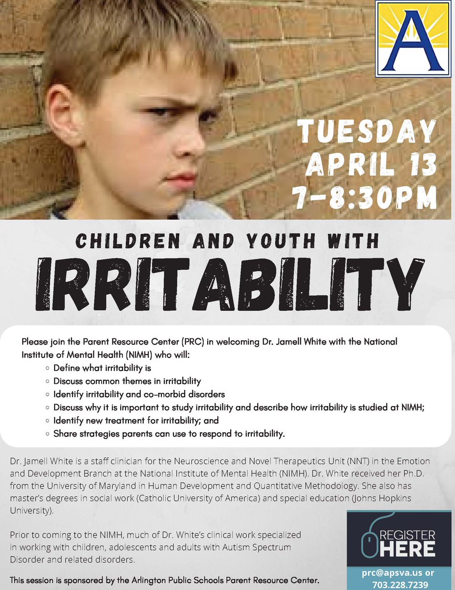 Don't miss this evening's session on Irritability in Children and Youth, presented by NIMH's Dr. Jamell White. <a target='_blank' href='http://twitter.com/ArlingtonSEPTA'>@ArlingtonSEPTA</a> <a target='_blank' href='http://twitter.com/APSVirginia'>@APSVirginia</a> Register at: <a target='_blank' href='https://t.co/xIjKkQ5NhD'>https://t.co/xIjKkQ5NhD</a> <a target='_blank' href='https://t.co/iWiNgnamqE'>https://t.co/iWiNgnamqE</a>