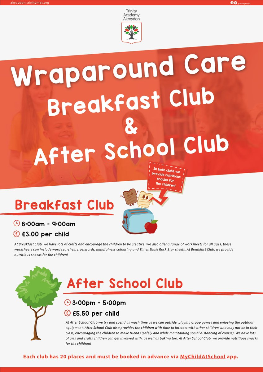 ✨ Wraparound Care ✨   Breakfast Club and After School Club at Akroydon!  Take a look at our flyer (👇) or visit our website to find out more on both clubs and how you can book your child's place 🌳🍳  📍https://t.co/Xhp7Y8J4Ro