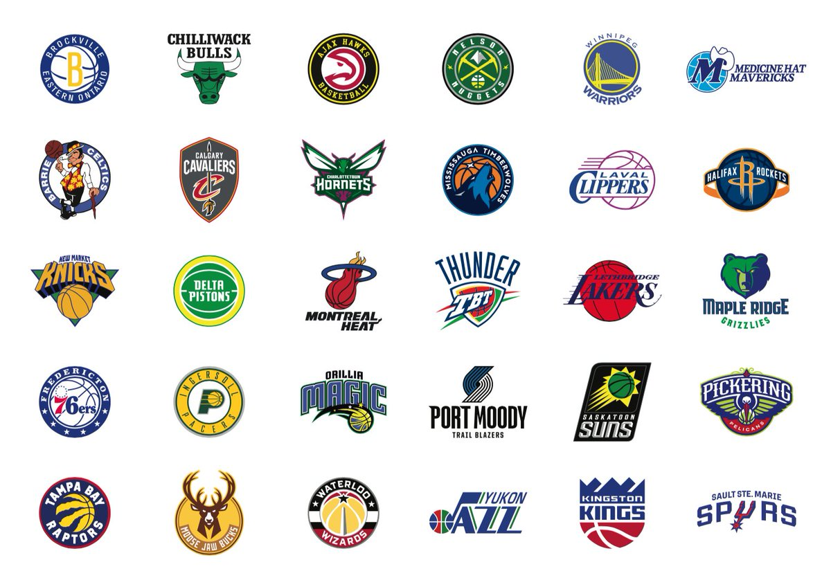 Off of @jeskeets's rant last week, I give to you the Northern Basketball Association 🏀 Or what if we do to the NBA what the NBA did to the @Raptors - shove them in obscure foreign cities 🤷‍♂️ Following Skeets' deep research, inspired by city colors 🙏🏻 #NoDunks @NoDunksInc https://t.co/RXNGWL6mLm