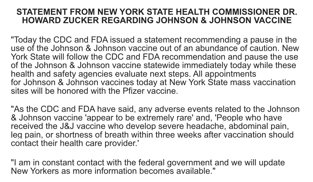 Statement from NYS Department of Health Commissioner Dr. Howard Zucker on the Johnson & Johnson vaccine:
