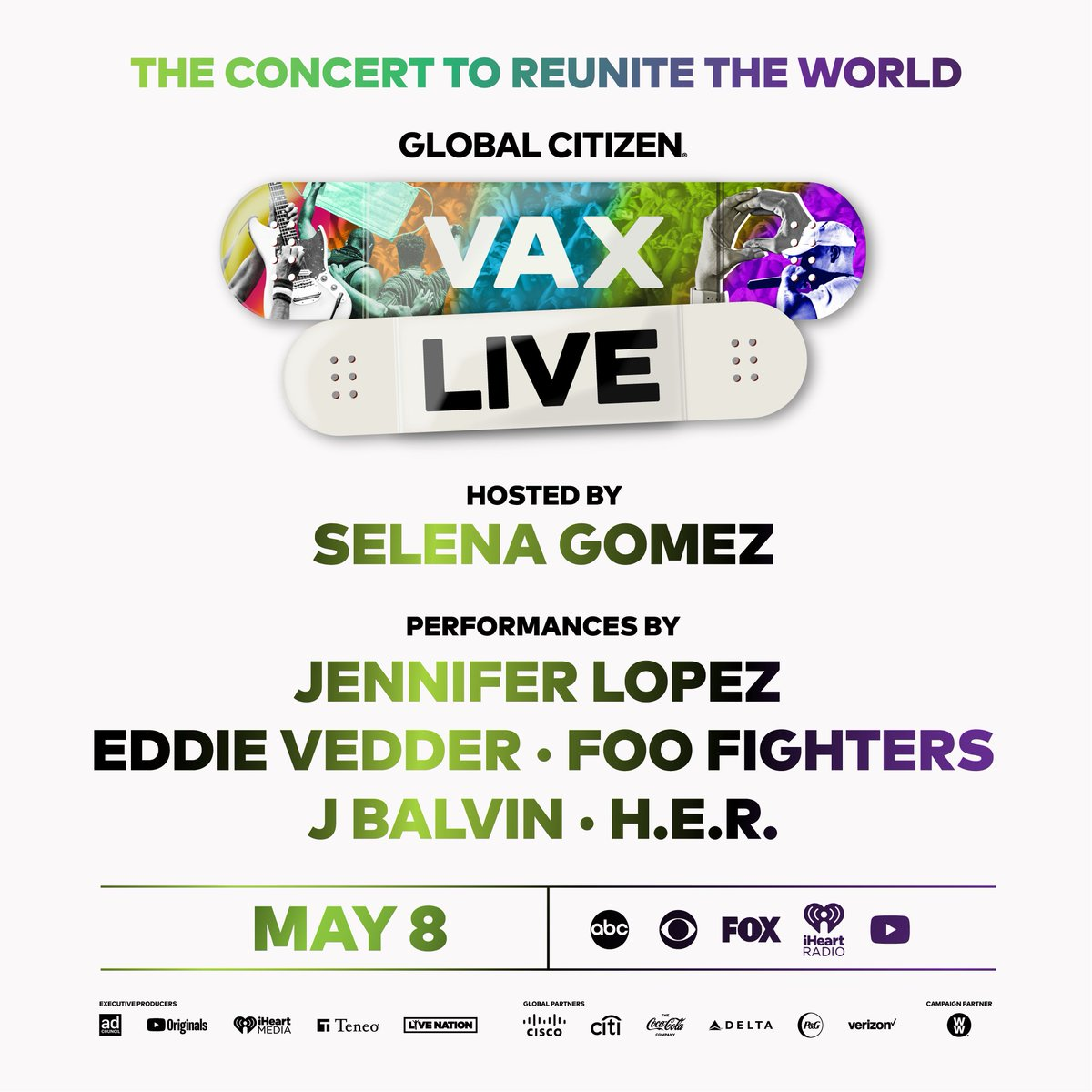 I'm so excited to announce that I'm hosting #VaxLive: The Concert to Reunite the World! I'll be joining @glblctzn in calling for equitable COVID-19 vaccine distribution for all. Tune in Saturday, May 8: https://t.co/GcRFROXS9H https://t.co/CTzjqdon7W