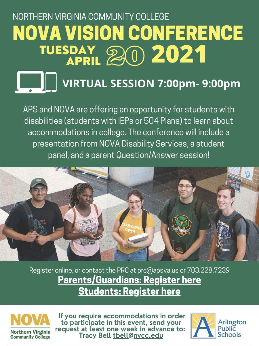 NOVA Vision Conference를 놓치지 마십시오. 장애가있는 학생과 학부모가 대학에서의 숙박 및 지원에 대해 배울 수있는 좋은 기회입니다. 학생 등록 : https://t.co/5gj9AH6vhm 학부모 등록 : https://t.co/eQhVGqjLCQAPS'> @APS/ NOVAPartners https://t.co/NPZqzlBAaI
