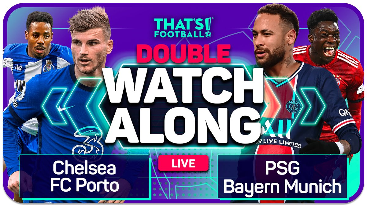 DOUBLE HEADER LIVE  PSG vs Bayern Munich  Chelsea vs FC Porto  Watchalong with @markgoldbridge after last week's EPIC stream! ⏩https://t.co/HHUCdHJkKt https://t.co/I5QqoBf8vC