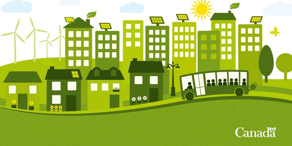 Dessin style bédé d'une ville durable équipée d'éoliennes, de panneaux solaires sur le toit de hauts immeubles et de bâtiments écologiques