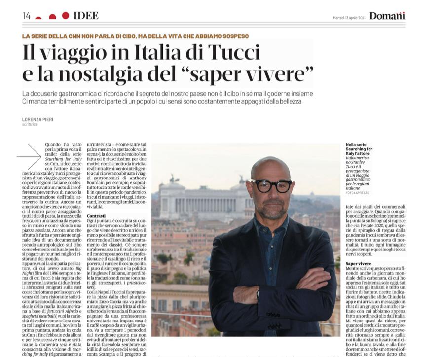 Leggo ora questo pezzo di #LorenzaPieri su #DomaniGiornale sulla serie #SearchingforItaly di Tucci. Bellissimo e vero.