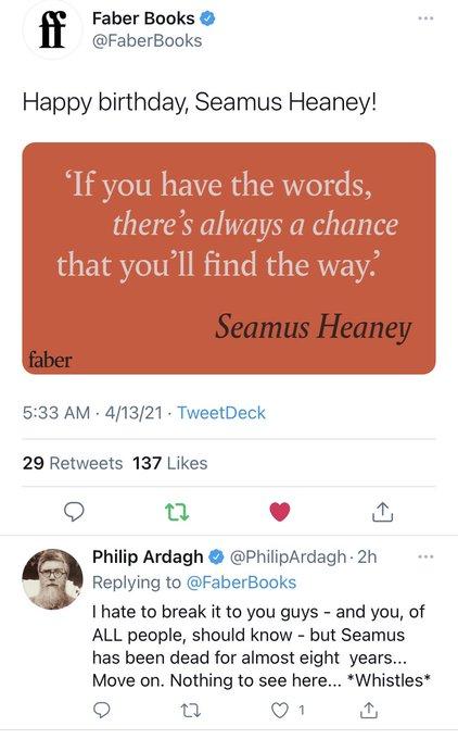 Happy Birthday Seamus Heaney !!