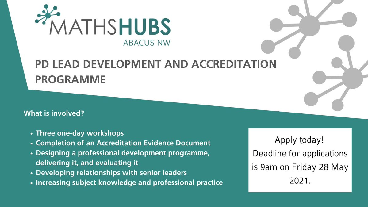 RT @Abacus_NW Become an NCETM accredited PD Lead!  This programme is designed for those who lead professional development for teachers of maths (all phases from Early Years to post-16).   🔎Find out more: https://t.co/l8ItDhLkn3 💻Apply online: https://t.co/diagvgpvHw