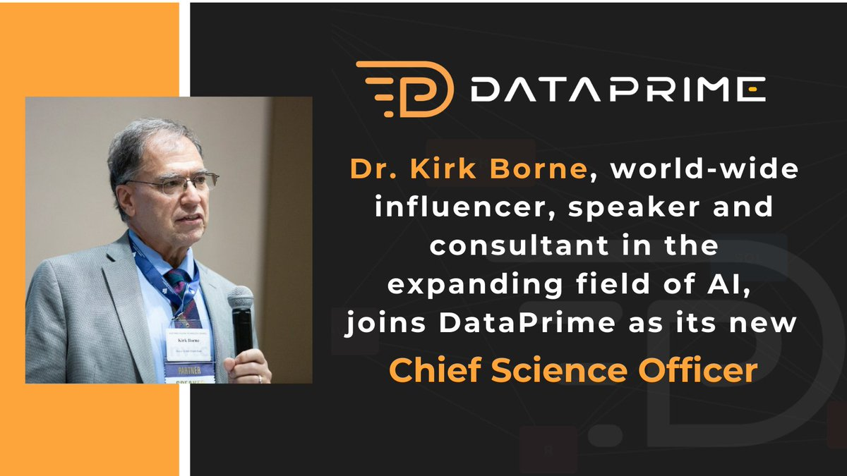 """This week's announcement about me joining #Startup @dataprime_ai as Chief Science Officer: https://t.co/qqb8qzis5A  We are """"changing the game in the high-demand #DataScience industry—matching the data utilization needs of companies with data pros best suited to meet those needs."""""""