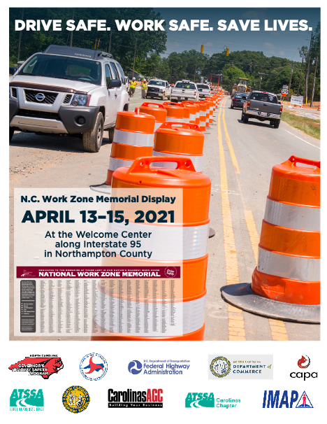Thank you @NC_GHSP for honoring those who have lost their lives in work zones. #WorkZoneAwareness Please Remember: ⚠️ Don't drive distracted ⚠️ Slow down ⚠️Pay attention to signs