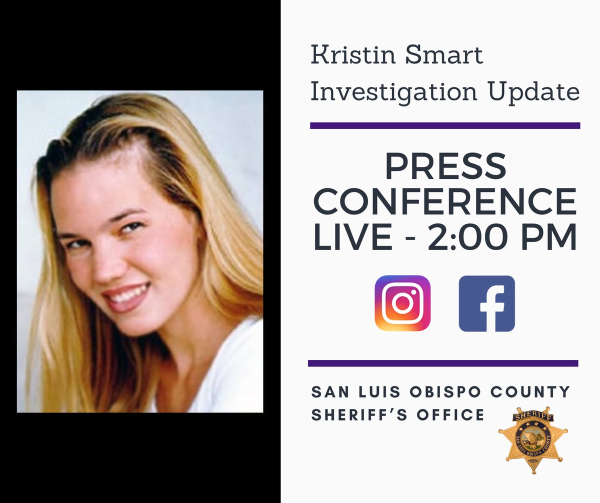 Sheriff Ian Parkinson will be discussing major developments in the investigation into the disappearance of Kristin Smart. https://t.co/pNak3BCLJq