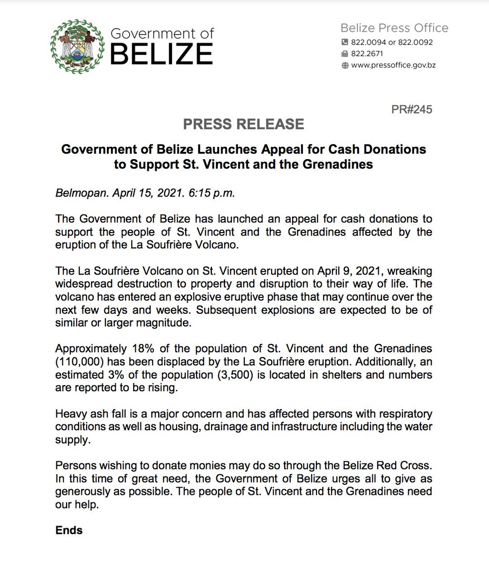 test Twitter Media - PRESS RELEASE: Government of Belize launches appeal for cash donations to support St. Vincent and the Grenadines. https://t.co/j6zaJXmnvy