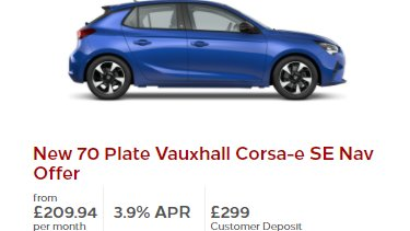 While list prices on EV remain stubbornly higher than piston models, lease deals are increasingly good value & closing the gap including this Corsa e which should come with 100kW charging . ID.3 also worth checking