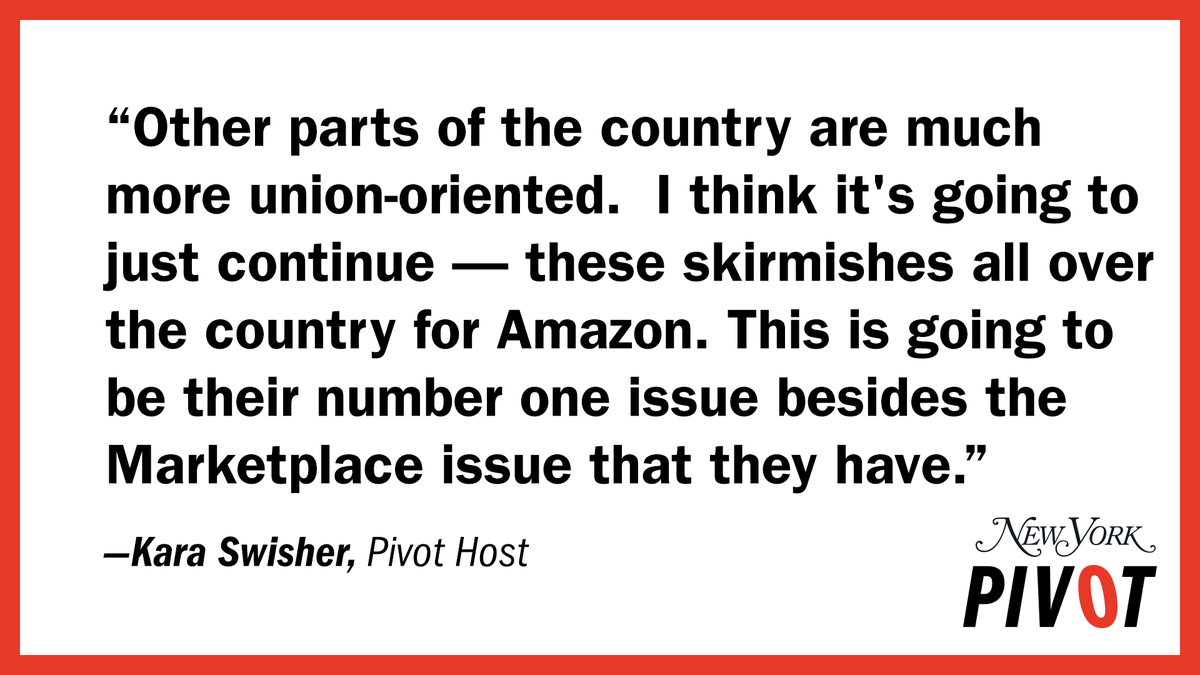 Amazon may have won the union fight in Alabama, but @karaswisher explains that Amazon's battle with unions is far from over.   Listen to Pivot: https://t.co/jkREsfgrbJ https://t.co/eyHc8HBwkJ