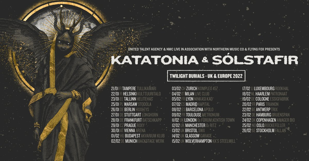 """KATATONIA on Twitter: """"Co-headline tour with @solstafir confirmed for 2022!  Tickets on sale Friday, 16th April @ 11am CEST: https://t.co/928fefz3WU  Even though a return to normality is joyous, why not celebrate it"""