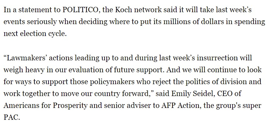 "@RepMikeJohnson @KochIndustries After 1/6, the Koch political network said: ""Lawmakers' actions leading up to and during last week's insurrection will weigh heavy in our evaluation of future support""  This apparently did not apply to @KochIndustries, which is run by the same person, Charles Koch https://t.co/MlaK6CjhJ3"