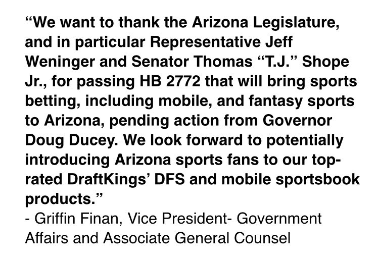 NEW: Popular fantasy and sports betting site @DraftKings sent me this statement regarding the Arizona Senate passing the sports betting bill last night.  @dougducey @TJShopeforAZ @JeffWeninger #azfamily https://t.co/tgN3FT1fs7