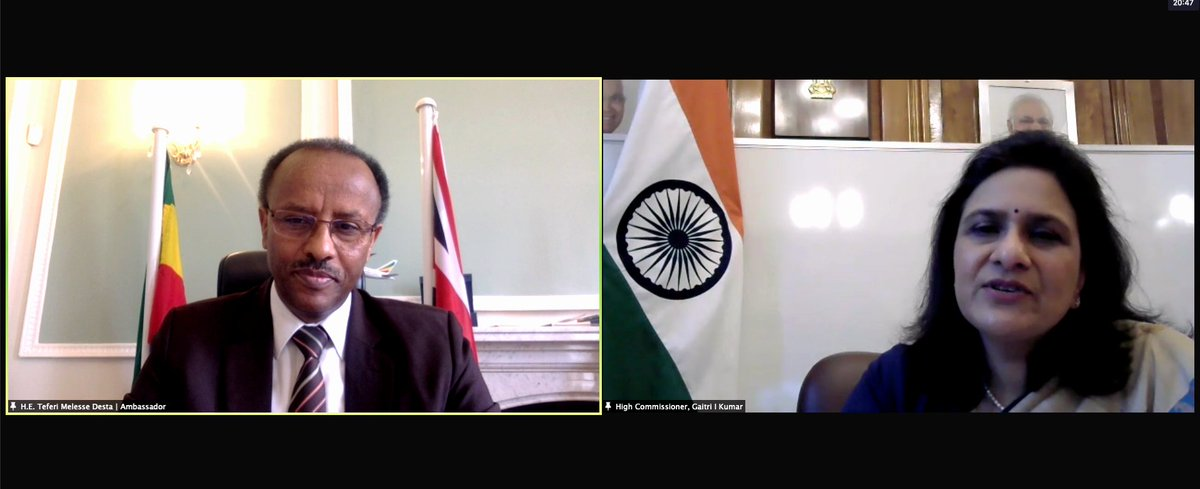 🇪🇹🤝🇮🇳  Last week I met with #India's High Commissioner to the UK, H.E. Gaitri Issar Kumar. We had a constructive discussion on the historical Ethio-India ties and underscored the need to work together to strengthen the economic and bilateral relations between #Ethiopia & India.