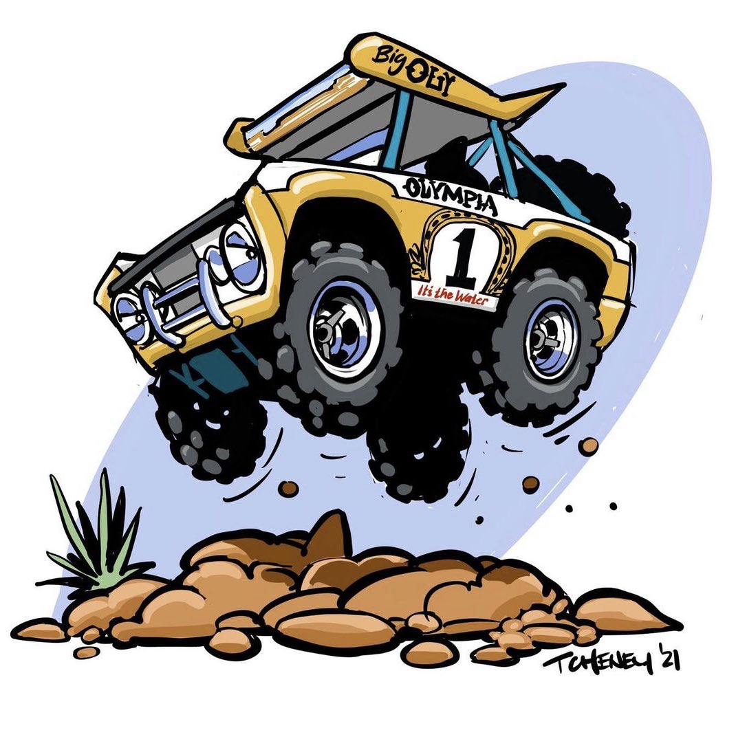 #PortfolioDay  the iconic Big Oly Bronco is going on the auction block soon. Expected to fetch well over $1 million. I cartooned it to commemorate.