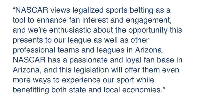NEW THIS MORNING: @NASCAR responds to the Arizona Senate passing the sports betting bill last night. They're excited and enthusiastic about the opportunity that may become law very soon.  #azfamily https://t.co/ubbFzXGUXk