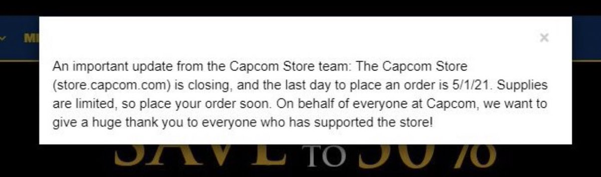 It seems the #Capcom store is closing down if there's anything you wanted or have loyalty points saved up I suggested you buy what you wanted or use them up  #PS5 #PlayStation5 #Xbox #XboxSeriesX #Nintendo #Switch #PCgaming