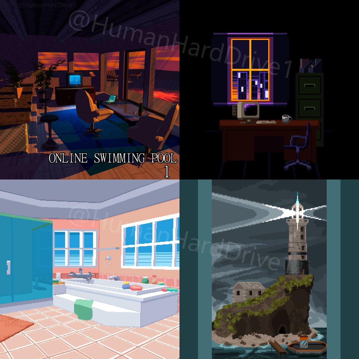 Happy #PortfolioDay ! I'm available! I'm a #pixelart artist and I can make sprites or tiles for your game. Also I can make a cool #lowpoly scene for you to use as an album cover or to help with fleshing out your worlds or stories