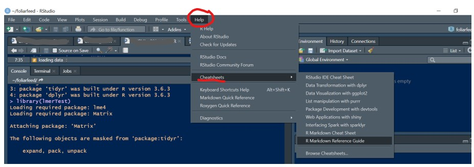 A screenshot of RStudio to demonstrate where to access Cheatsheets in the Help menu.