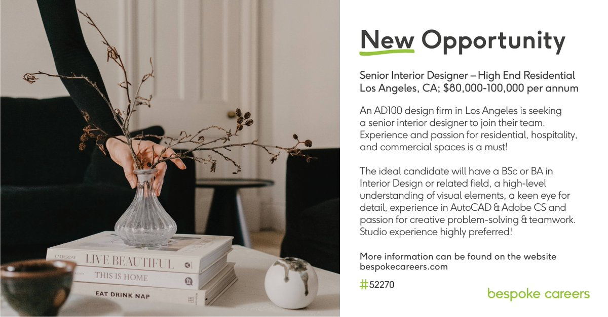 An #AD100 design firm in #LosAngeles is seeking a Senior #InteriorDesigner to join their team. Experience and passion for #residential, #hospitality, and #commercial spaces is a must!  Interested? Apply here:   #InteriorDesign #LAJobs #InteriorDesignJobs