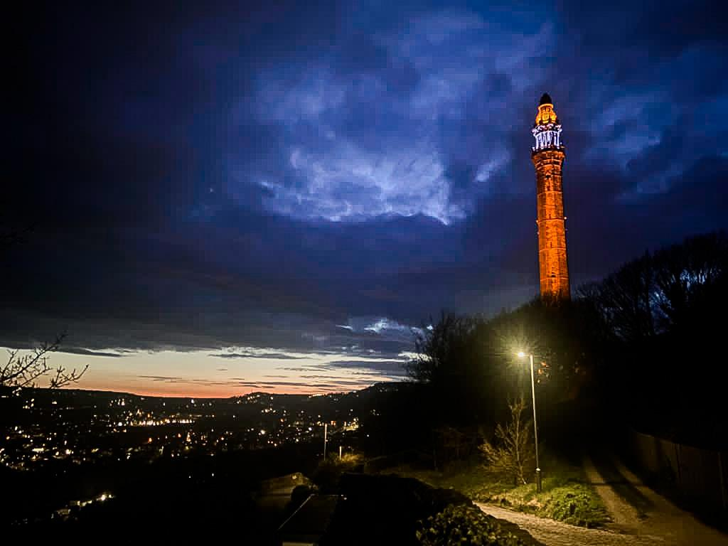 RT @Calderdale Wainhouse Tower is lit up in blue and orange tonight to celebrate #Vaisakhi. To our colleagues, friends and residents celebrating, we wish you a joyful and safe occasion