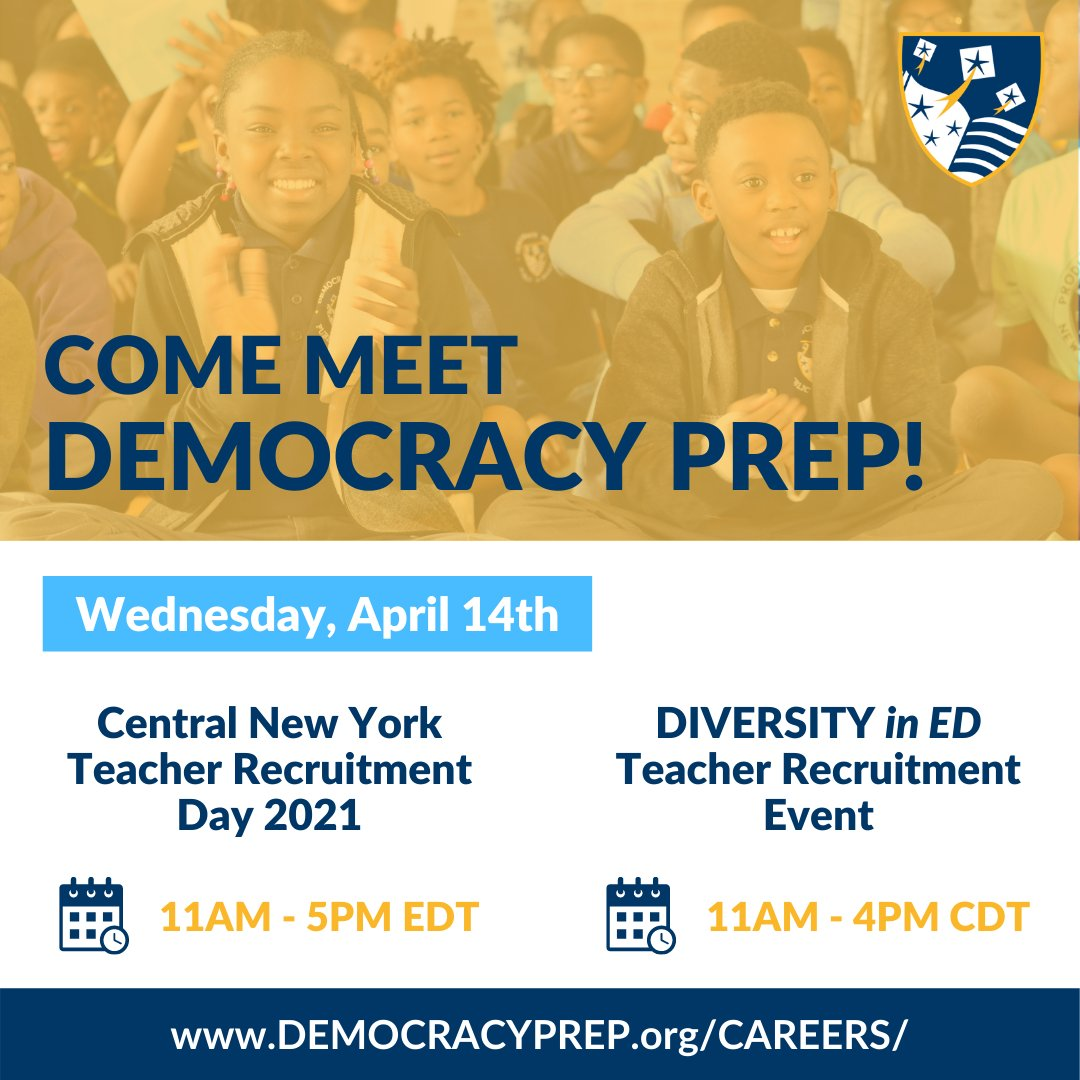 test Twitter Media - #DemocracyPrep will be at the Central New York Teacher Recruitment Day AND the @Diversity_In_Ed Teacher Recruitment Event. We're looking for awesome teachers, leaders, and staff to join our DREAM Team. Sign up and meet us there! #DPPS #DPNY #education #scholars #teachers #leaders https://t.co/tqzCvLxlfz