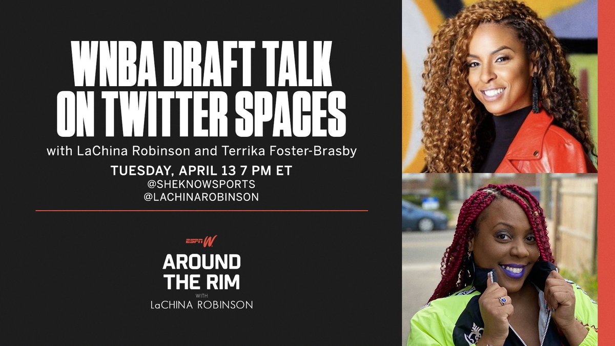 One hour alert!  @SheKnowsSports, @LaChinaRobinson and several special guests will be going live on Twitter Spaces at 7 PM ET to get you ready for the @WNBA Draft 🙌 https://t.co/jrsBSBbZtf