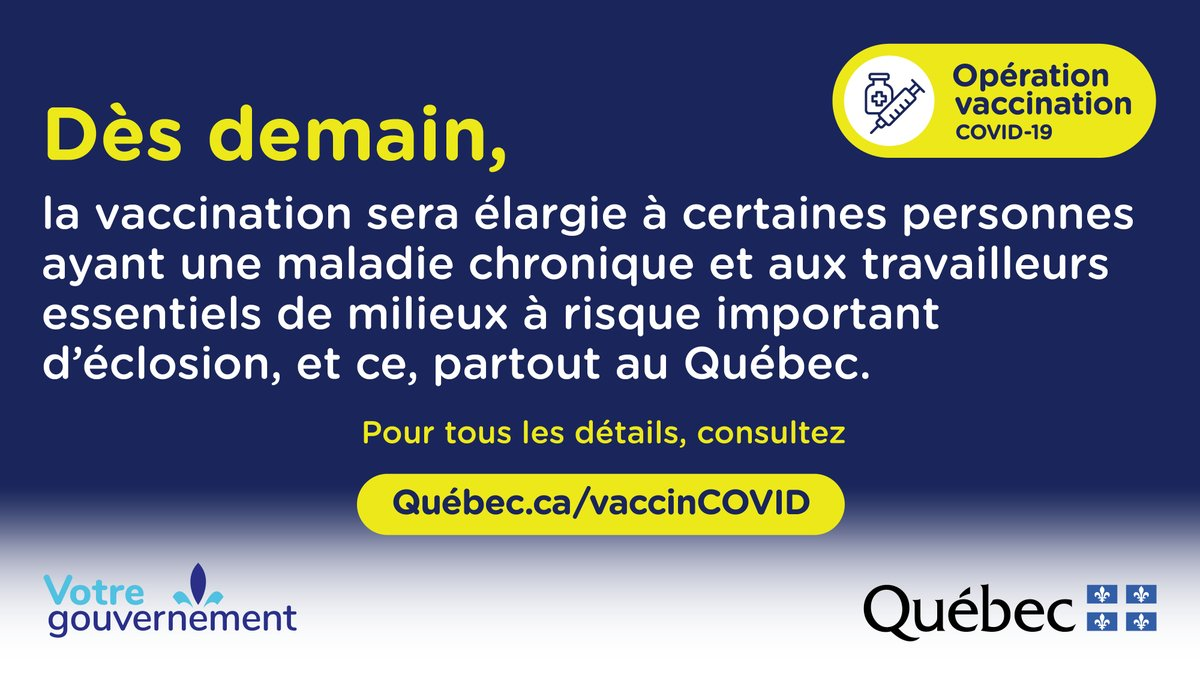 Starting April 14, school staff across Quebec can book vaccination appointments. Bring proof of employment!