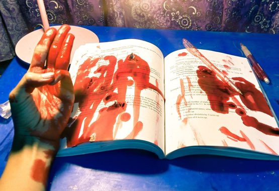 """""""BLOOD-STAINED EDUCATION"""" under Dictatorship is displayed by a student to remember the FALLEN students KILLED during their fight for freedom. We have faced academic suspension since Covid and now Coup. Even so, we will participate in #StudentCDMCampaign. #WhatsHappeningInMyanmar https://t.co/gktaMaNh8I"""