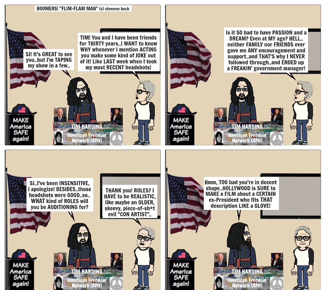 """Today's BOOMERS! (c) stevenn beck here's """"FLIM-FLAM MAN"""" Follow BOOMERS! on FB-Twitter-IG #nohate #justice #love  #friends  #TrumpVirus  #Equality #Truth #LGBTQ   #VotingRightsAct   #mindfullness  #TrumpisTrash  #freedomofreligion #StopAsianHate  #babyboomer #StopAsianHateCrimes https://t.co/OaKLkFa5AE"""