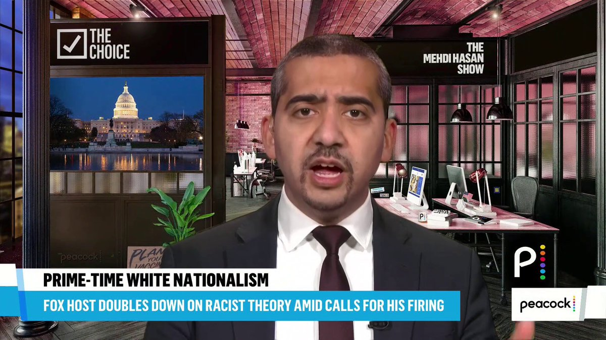 """This is the mainstreaming of neo-Nazi hatred in America.""  My 5-minute monologue tonight, on the @MehdiHasanShow, on the dangerous embrace of 'great replacement theory' and white supremacist rhetoric by Tucker Carlson, enabled by Fox and the Murdochs:  https://t.co/wPB5ou847F"