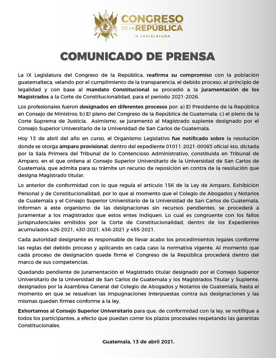 test Twitter Media - Por medio de un comunicado el Congreso de la República informa sobre el proceso de juramentación de los Magistrados de la Corte de Constitucionalidad. https://t.co/NOtLpj09AE