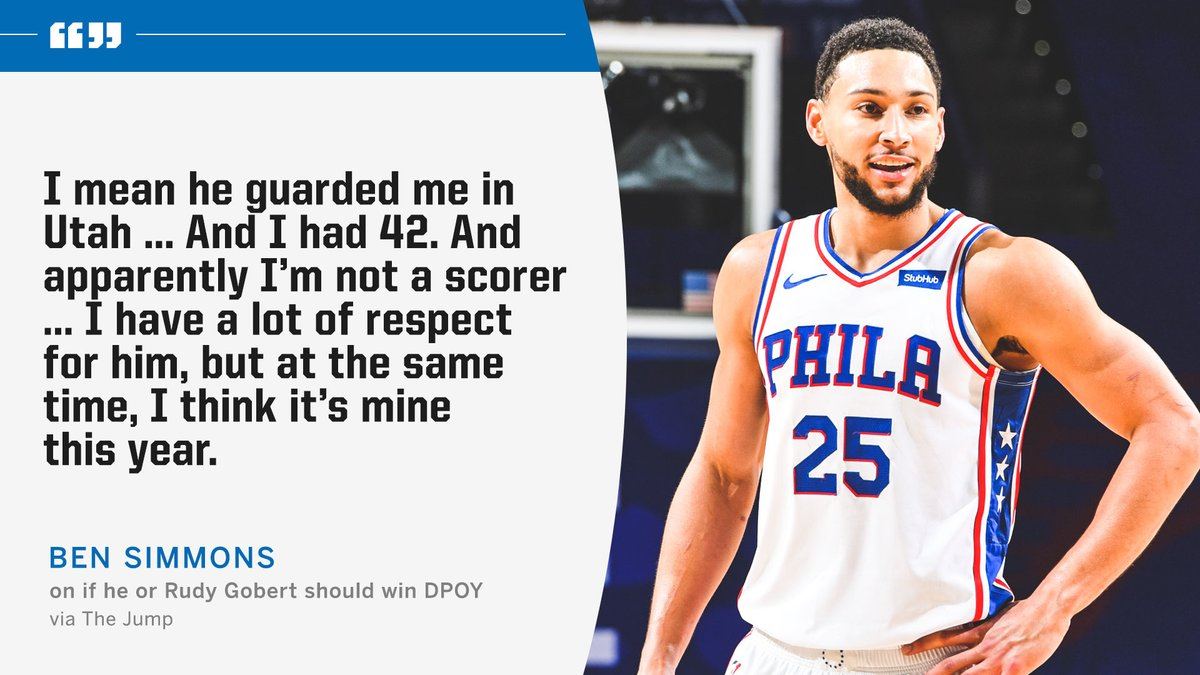Ben Simmons shares who he thinks should win Defensive Player of the Year 🏆  (Via @Rachel__Nichols, The Jump) https://t.co/qBY5nX3NW0