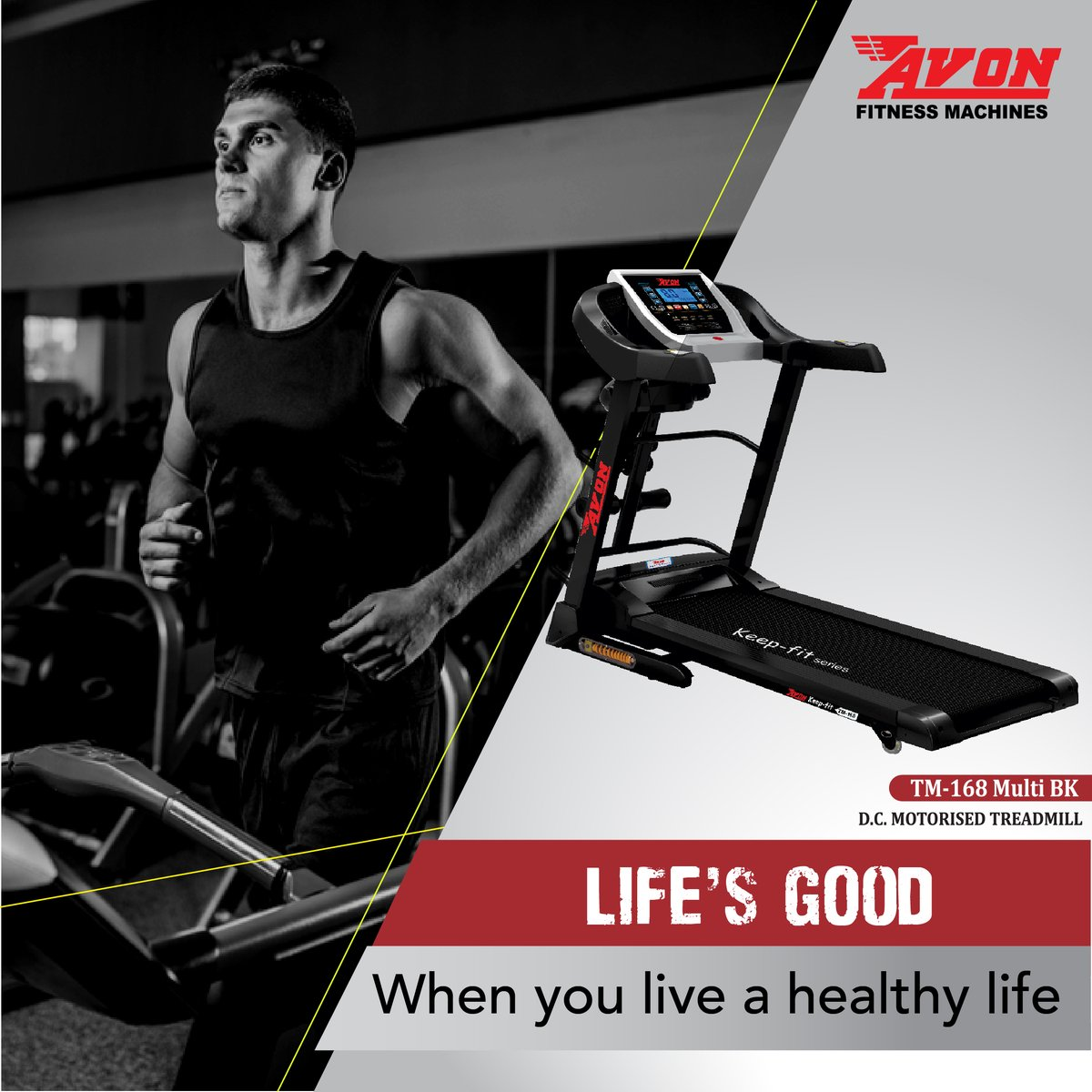 Exercising improves your lifestyle. Live a healthy life with AVON Fitness Machines.   #AVON #Fitness #Gym #Workout #FitnessMachines #Treadmill #Cardio #GymEquipment #Health #Diet #CrossTrainer #UprightBike #Bikes #Cycles #SpinBike #MultiGym #Benches #Orbitrac #HomeGym https://t.co/9ZSSugKNRz
