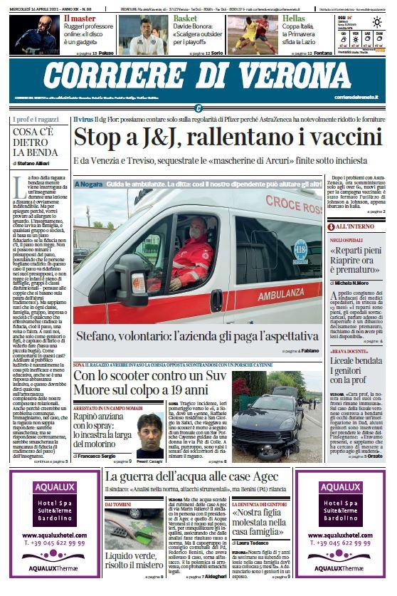 Buongiorno con la prima pagina del Corriere di #Ve...