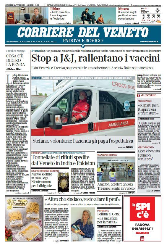 Buongiorno con la prima pagina del @corriereveneto...