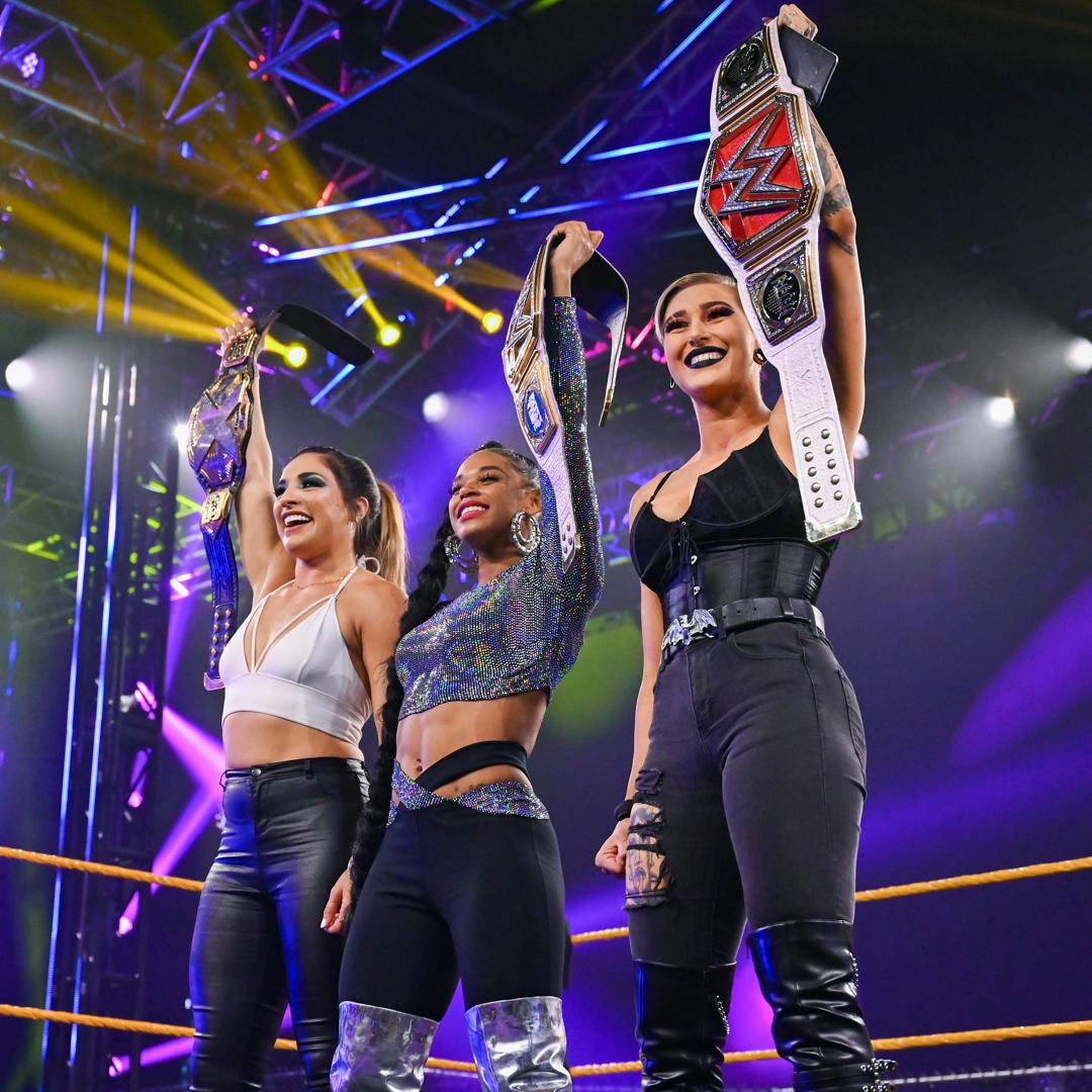 RT @WWEUK: Three Champions. One word. Iconic. - @RaquelWWE @biancaBelairWWE @RheaRipley_WWE https://t.co/sV5i826ATV