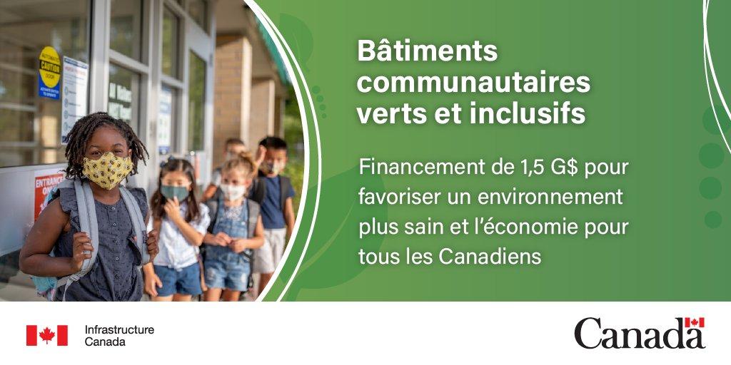 Texte: Bâtiments communautaires verts et inclusifs. Financement de 1,5 G$ pour favoriser un environnement plus sain et l'économie pour tous les Canadiens