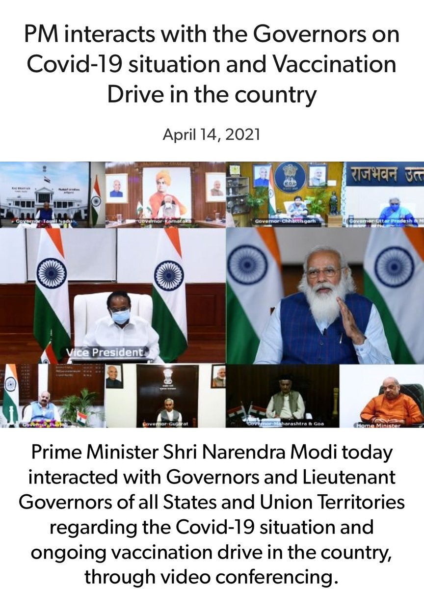 PM interacts with the Governors on Covid-19 situation and Vaccination Drive in the country.  https://t.co/9KwHDjmW43  via NaMo App https://t.co/pnjE2QFccd