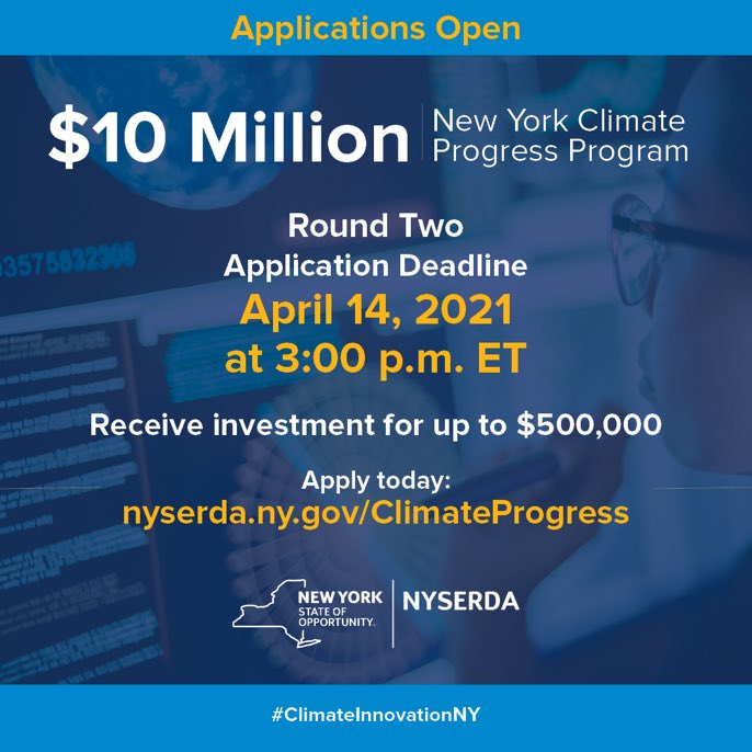 test Twitter Media - 🔵 The New York Climate Progress Round Two deadline is tomorrow, April 14!   🔵 Do you know a #ClimateTech startup operating in New York that is raising venture funding?   🔵 More info⬇️ https://t.co/XtC7JKjsAN  @NYSERDA #ClimateInnovationNY https://t.co/ei2zWsOGiL