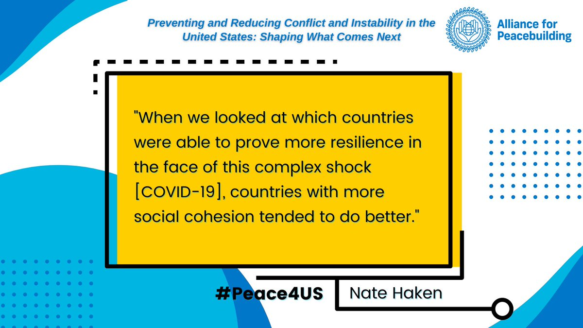 FFP's @natehaken shared some critical thoughts on which factors made countries #resilient in response to #COVID19 on today's Preventing and Reducing Conflict and Instability in the US panel hosted by @AfPeacebuilding