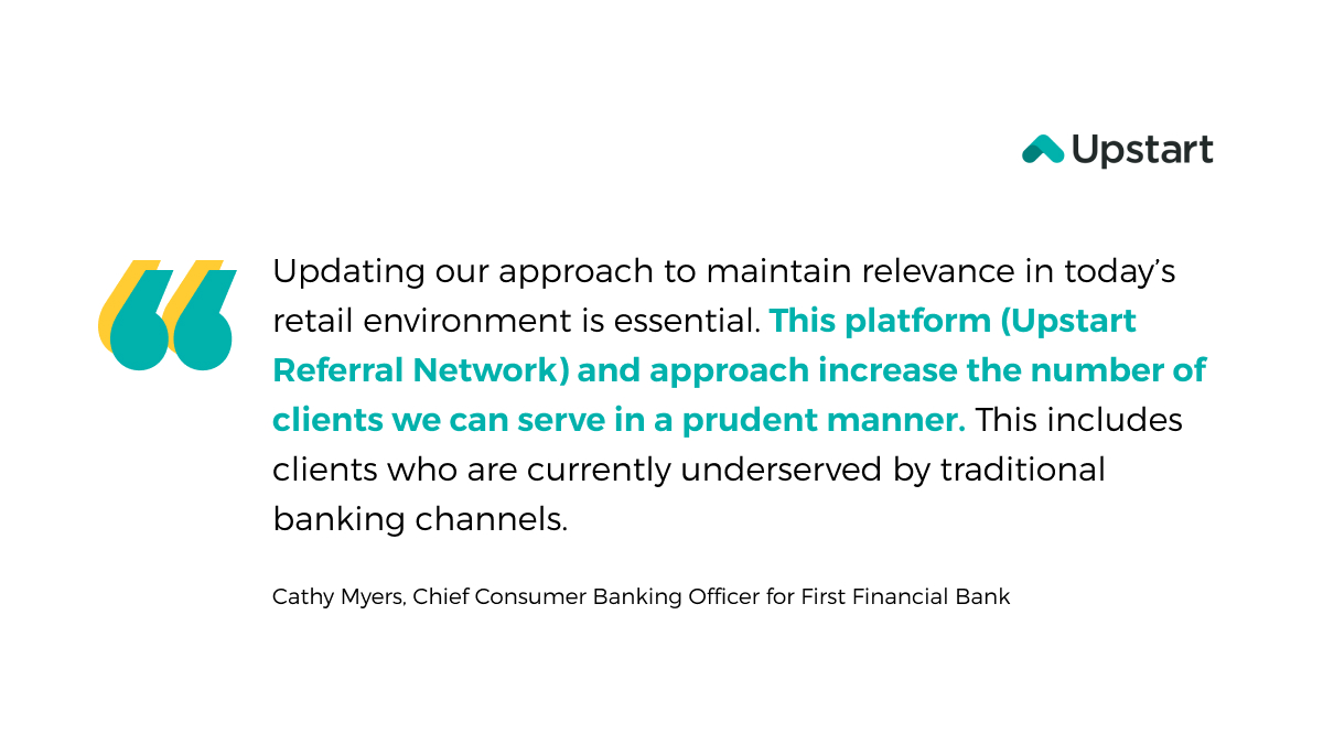 test Twitter Media - Through the Upstart Referral Network, @BankAtFirst has great access to qualified personal loan applicants who meet their credit policies & risk parameters, while delivering an exceptional digital-first lending experience.  Learn more ➡️  https://t.co/1jcRxjHiqq https://t.co/SP3tSehdbb