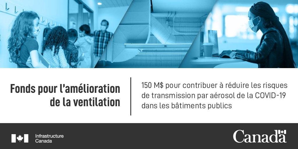 Texte: Fonds pour l'amélioration de la ventilation. 150 M$ pour contribuer a réduire les risques de transmission par aérosol de la COVID-19 dans les bâtiments publics.