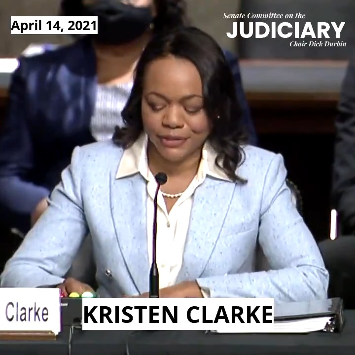 """WATCH Kristen Clarke's opening remarks: """"I carry the words of Justice Thurgood Marshall as my guide: 'Where you see wrong or inequality or injustice, speak out, because this is your country. This is your democracy. Make it. Protect it. Pass it on.' I've tried to do just that."""" https://t.co/3aRL8ZvSAe"""