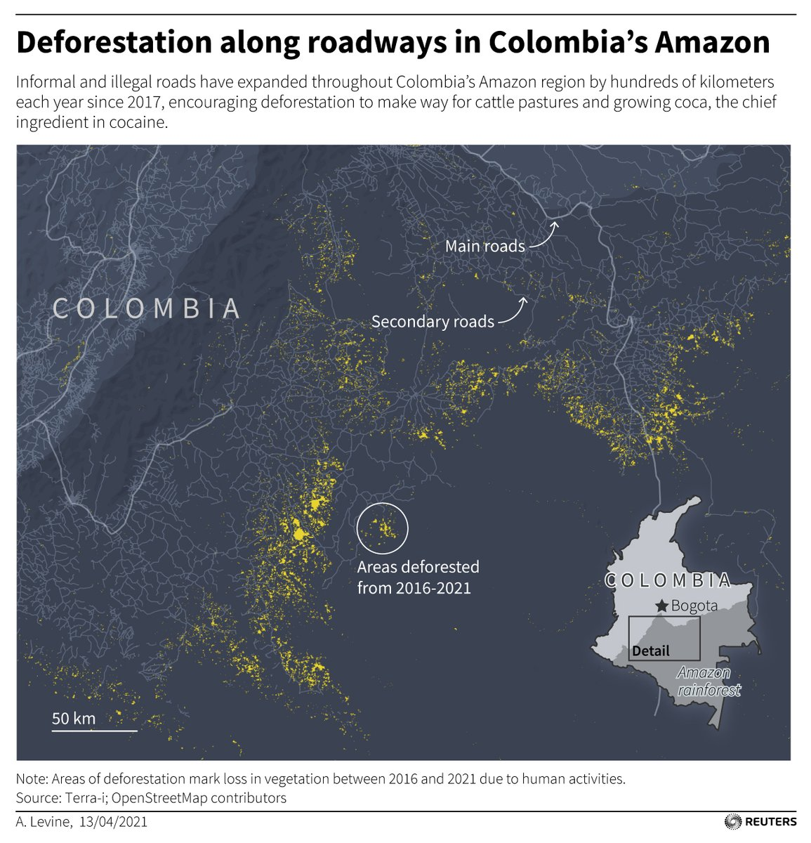 The construction of informal roadways in Colombia's Amazon have paved the way for deforestation in recent years. The full story from @OliGGriffin: https://t.co/NJbnfESJam https://t.co/DsCdH6HFcx